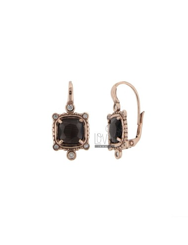MONACHELLA EARRINGS WITH SQUARE HYDROTHERMAL STONE GRAY 51 AND ZIRCONIA IN ROSE GOLD PLATED AG 925 T