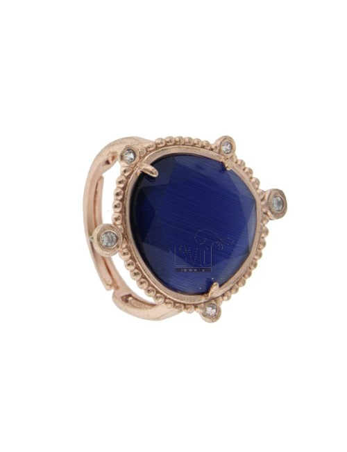 RING WITH HYDROTHERMAL STONE SASSO LARGE COLOR BLUE 1 AND ZIRCONIA IN AG ROSATO TIT 925 ‰ ADJUSTABLE SIZE