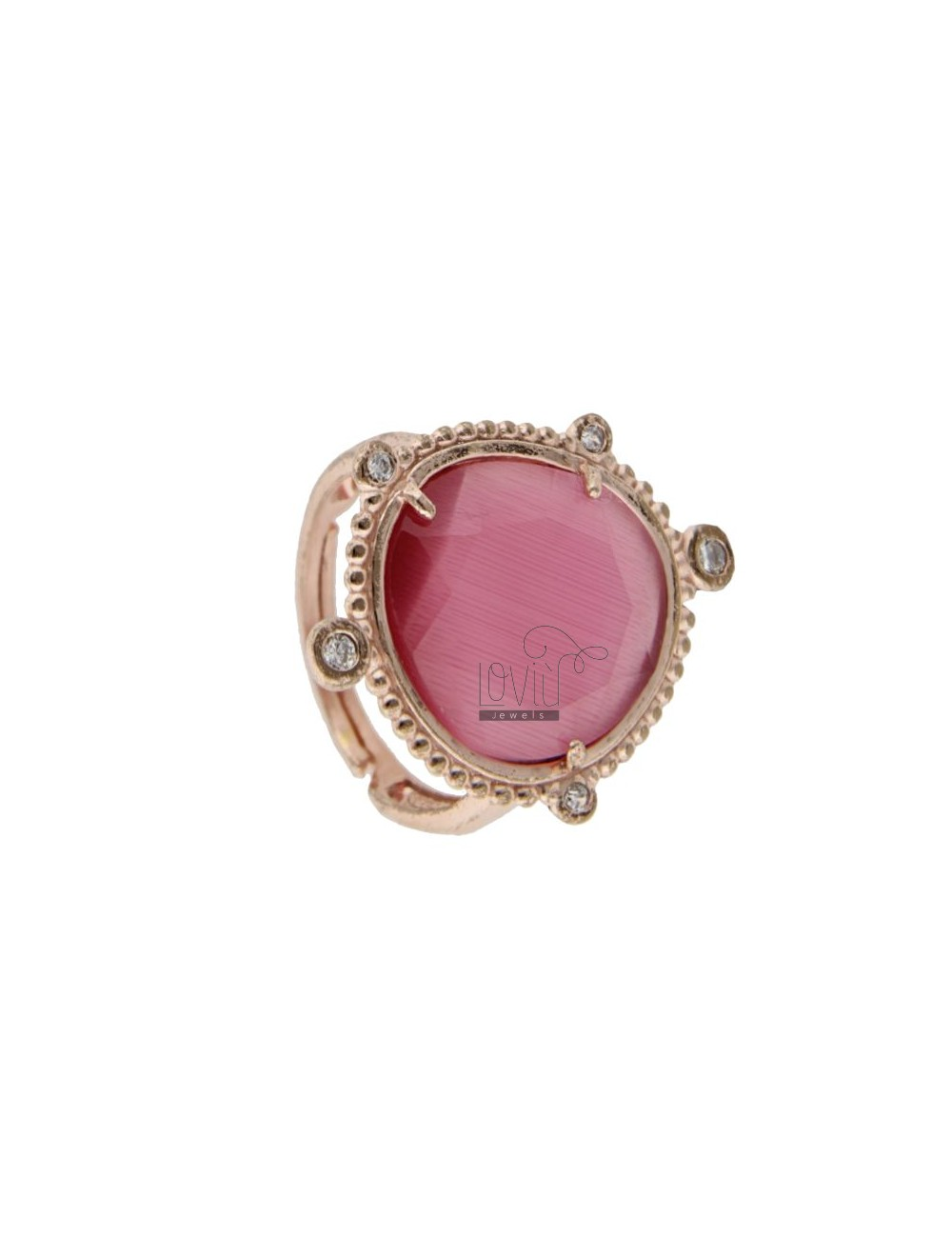 RING WITH HYDROTHERMAL STONE SASSO GREAT COLOR FUCHSIA 16 AND ZIRCONIA IN AG ROSATO TIT 925 ‰ ADJUSTABLE SIZE