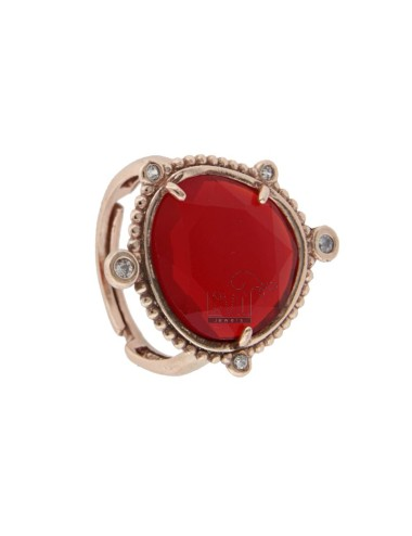 RING WITH HYDROTHERMAL STONE SASSO LARGE RED COLOR 57 AND ZIRCONIA IN ROSATO AG TIT 925 ‰ ADJUSTABLE SIZE
