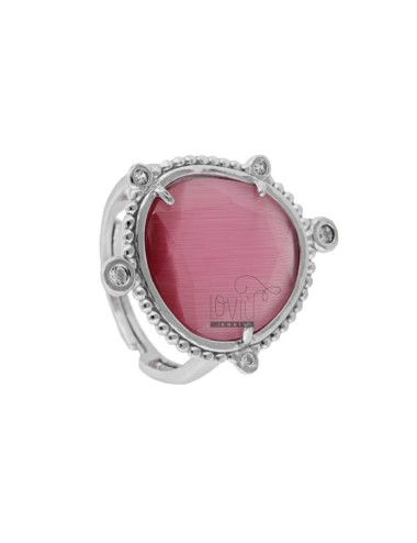 RING WITH HYDROTHERMAL STONE SASSO GREAT COLOR FUCHSIA 16 AND ZIRCONIA IN RHODIUM AG TIT 925 ‰ ADJUSTABLE SIZE