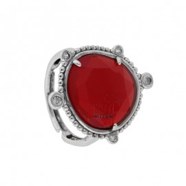 RING WITH HYDROTHERMAL STONE SASSO LARGE RED COLOR 57 AND ZIRCONIA IN RHODIUM AG TIT 925 ‰ ADJUSTABLE SIZE