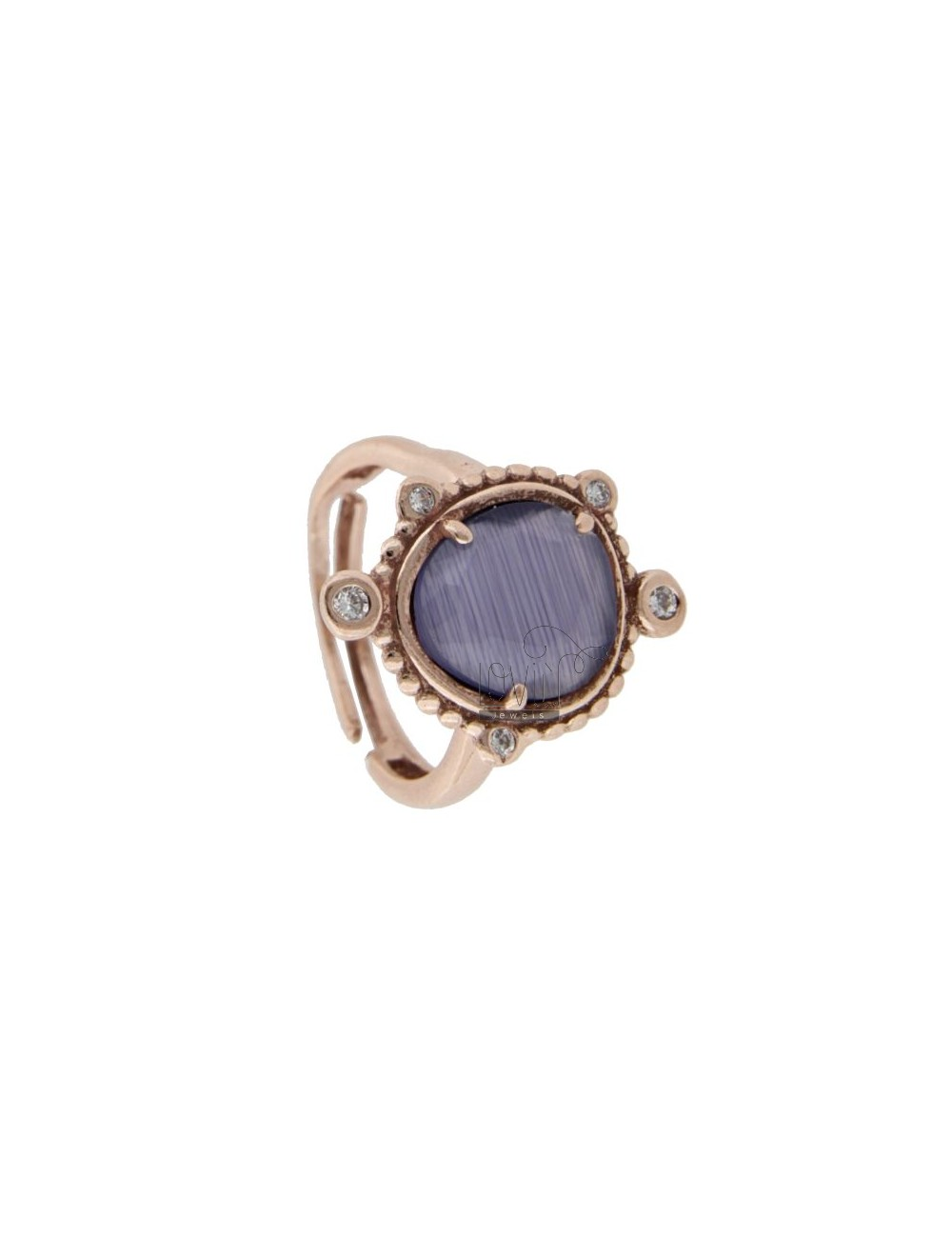 RING WITH HYDROTHERMAL STONE SASSO SMALL PURPLE COLOR 13 AND ZIRCONIA IN AG ROSATO TIT 925 ‰ ADJUSTABLE SIZE