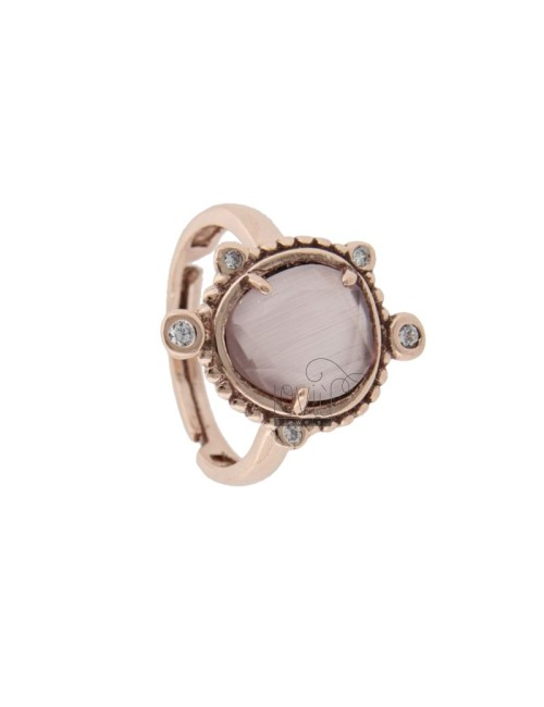 RING WITH HYDROTHERMAL STONE SMALL STONE COLOR LILAC 29 AND ZIRCONIA IN ROSATO AG TIT 925 ‰ ADJUSTABLE SIZE