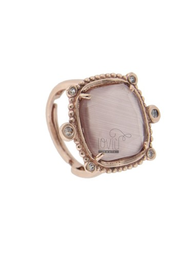 RING WITH HYDROTHERMAL STONE SQUARE LARGE 29 LILAC COLOR AND ZIRCONIA IN AG ROSATO TIT 925 ‰ ADJUSTABLE SIZE