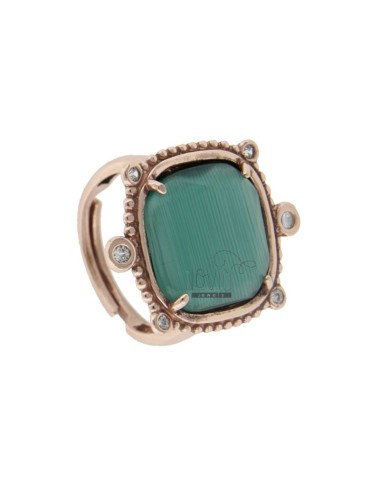 RING WITH HYDROTHERMAL SQUARE SQUARE LARGE GREEN 40 AND ZIRCONIA IN ROSE AG TIT 925 ‰ ADJUSTABLE SIZE