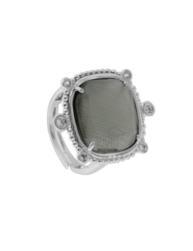 RING WITH HYDROTHERMAL STONE SQUARE LARGE GRAY 51 COLOR AND ZIRCONIA IN RHODIUM AG TIT 925 ‰ ADJUSTABLE SIZE