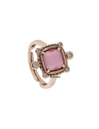 RING WITH HYDROTHERMAL STONE SQUARE FUCSIA 16 AND ZIRCONIA IN AG ROSATO TIT 925 ‰ ADJUSTABLE SIZE