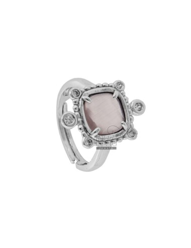 RING WITH HYDROTHERMAL STONE SQUARE PINK 11 AND ZIRCONIA IN RHODIUM AG TIT 925 ‰ ADJUSTABLE SIZE