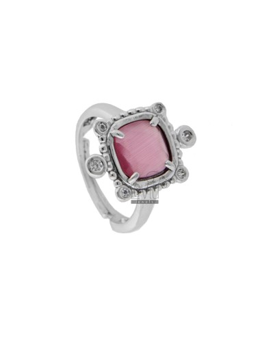 RING WITH HYDROTHERMAL STONE SQUARE FUCSIA 16 AND ZIRCONIA IN RHODIUM AG TIT 925 ‰ ADJUSTABLE SIZE
