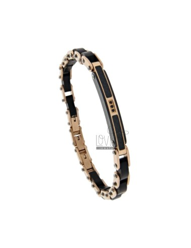 PINK GOLD PLATED STEEL, WOOD AND ZIRCONIA HINGED BRACELET CM 21