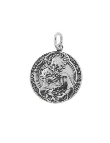 25 MM COIN PENDANT WITH SAN GIUSEPPE IN BRUNITO SILVER TIT 800