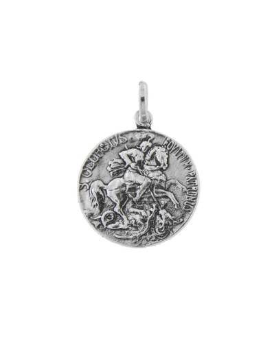 24 MM COIN PENDANT WITH SAN GIORGIO IN BRUNITO SILVER TIT 800