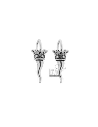 2 PCS HORN PENDANT MM 18X9 WITH CROWN IN CAST SILVER AND BURNISHED TIT 800 ‰