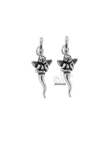 2 PCS PUNCHED HORN PENDANT MM 26X11 WITH PUTTINO IN SILVER CAST CAST BRUNITO TIT 800 ‰