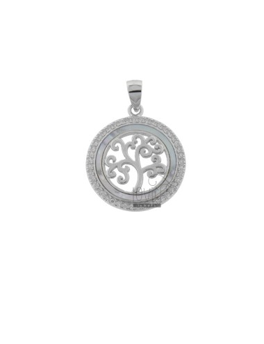 PENDANT TREE OF LIFE 20 MM SILVER RHODIUM TIT 925 ‰ WHITE ZIRCONIA AND MOTHER OF PEARL