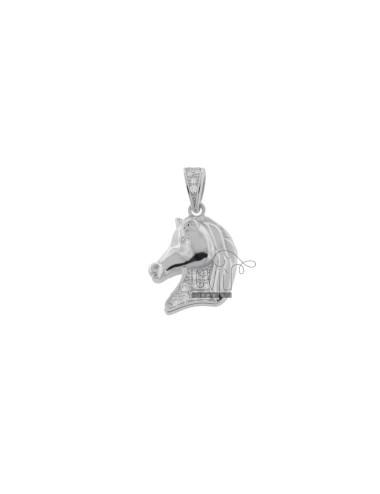 HORSE HEAD PENDANT 16X13 MM SILVER RHODIUM TIT 925 ‰ AND WHITE ZIRCONIA