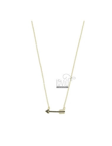 NECKLACE WITH ARROW IN GOLDEN SILVER TIT 925 AND BLACK ZIRCONIA 42 CM