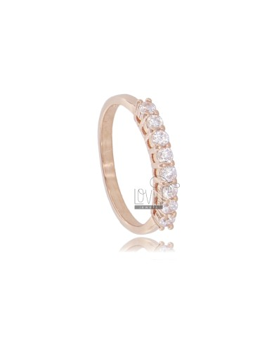 HALF EVERETTA RING WITH 8 WHITE ZIRCONIA MM 2.5 IN ROSE SILVER TIT 925 SIZE 12