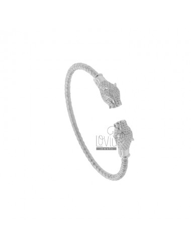 RIGID BRACELET WITH CONTRARY PANTERS IN SILVER RHODIUM TIT 925 AND ZIRCONIA