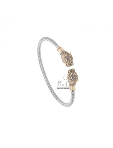 RIGID BRACELET WITH CONTRARY PANTERS IN SILVER RHODIUM AND ROSE TIT 925 AND ZIRCONIA