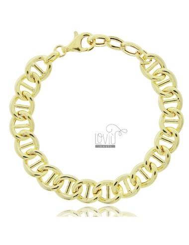 MARINE CHAIN BRACELET CRUSHED 13 MM SILVER GOLDEN TIT 925 CM 19-21