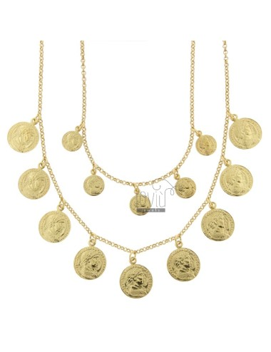 NECKLACE ROLO '2 WIRES DEGRADE WITH GOLDEN SILVER PENDING COINS TIT 925 CM 40-45