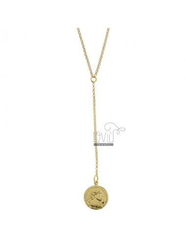 ROLO 'TIE NECKLACE WITH GOLDEN SILVER PENDANT COIN TIT 925 CM 40-45