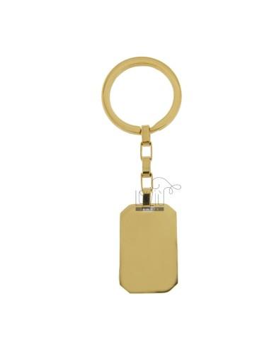RECTANGULAR KEY RING MM 34X22 IN GOLDEN STEEL