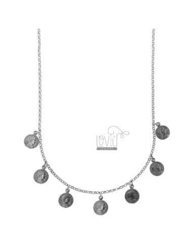 NECKLACE ROLO 'WITH COINS PENDING IN BRUNITO SILVER TIT 925 CM 45-50