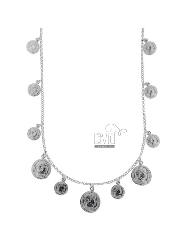 NECKLACE ROLO 'WITH COINS PENDING IN SILVER RHODIUM TIT 925 CM 40-45