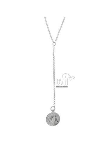 NECKLACE ROLO 'TIE WITH PENDANT COIN IN SILVER RHODIUM TIT 925 CM 40-45