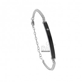 TWO-TONE STEEL BRACELET WITH 21 CM PLATE
