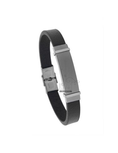 BRACELET IN BLACK LEATHER WITH A TWO-TONE STEEL PLATE CM 21