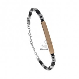 BRACELETS WITH WASHERS AND PLATE IN TRICOLOR STEEL CM 21