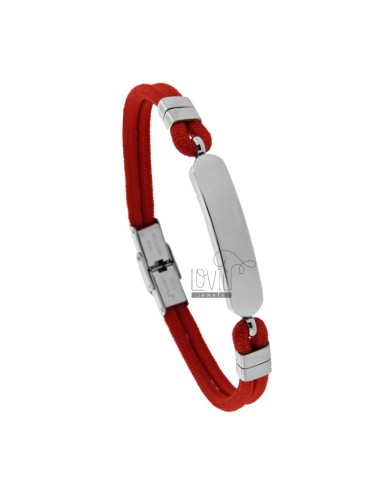 RED ROPE BRACELET WITH POLISHED STEEL PLATE 21 CM