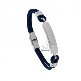 BLUE ROPE BRACELET WITH 21 CM POLISHED STEEL PLATE