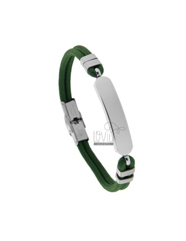GREEN ROPE BRACELET WITH POLISHED STEEL PLATE CM 21