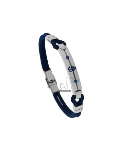 BLUE ROPE BRACELET WITH PLATE AND STILL IN TWO-TONE STEEL 21 CM