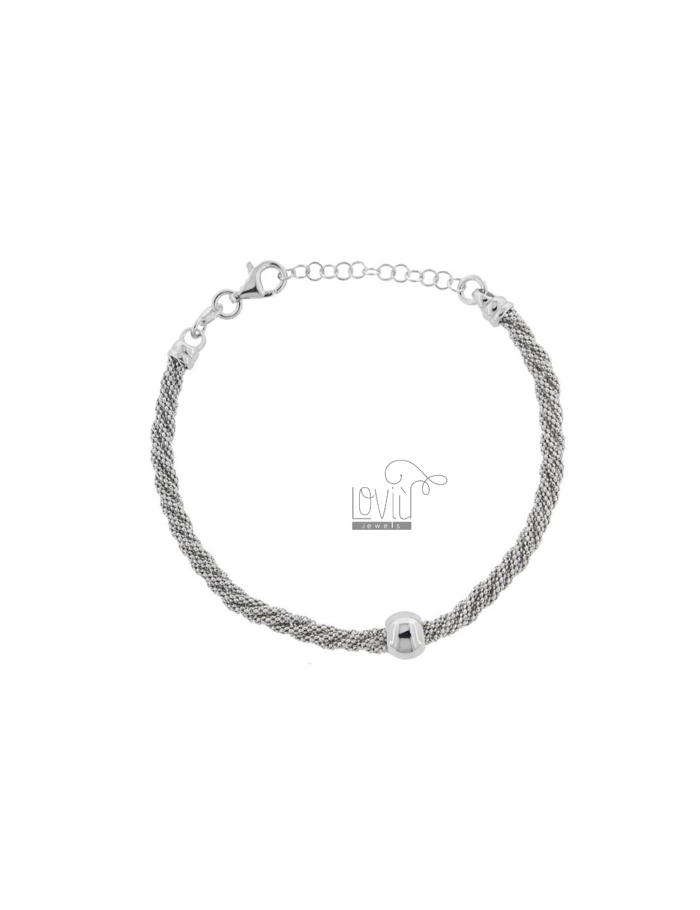 POP CORN BRACELET TWISTED WITH BALL IN SILVER RHODIUM TIT 925 ‰ CM FROM 17 EXTENDABLE TO 19