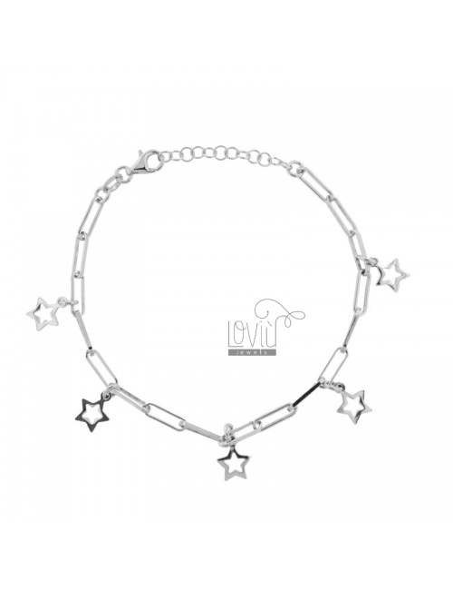 CHAIN BRACELET WITH STARS IN SILVER RHODIUM TIT 925 ‰ CM FROM 17 EXTENDABLE TO 19