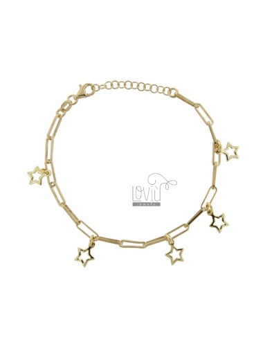 CHAIN BRACELET WITH STARS IN GOLD PLATED SILVER TIT 925 ‰ CM FROM 17 EXTENDABLE TO 19