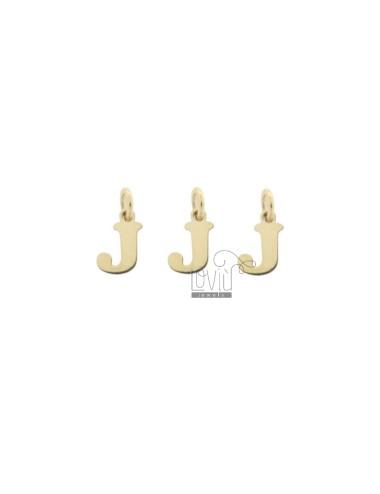 PENDANT LETTER J MM 8 PCS 3 IN GOLDEN SILVER TIT 925