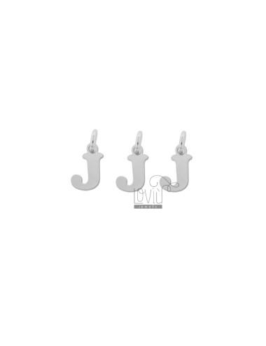 PENDANT LETTER J MM 8 PCS 3 SILVER RHODIUM TIT 925