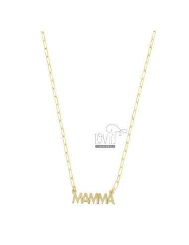 STRETCHED NECKLACE WITH MOM IN GOLDEN SILVER TIT 925 ‰ CM 40-45