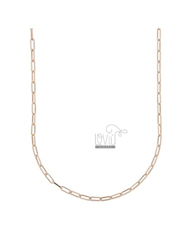 NECKLACE CABLE EXTENDED 2,4X6,4 MM IN ROSE SILVER TIT 925 CM 50