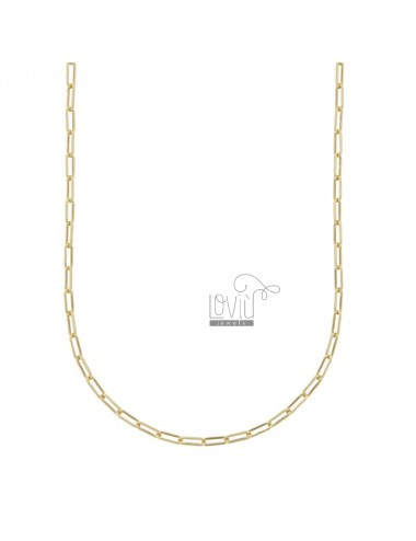 NECKLACE CABLE EXTENDED 2,4X6,4 MM SILVER GOLDEN TIT 925 CM 45