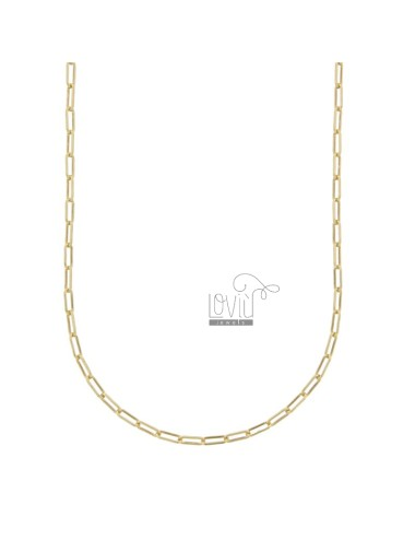 NECKLACE CABLE EXTENDED 2,4X6,4 MM GOLDEN SILVER TIT 925 CM 50