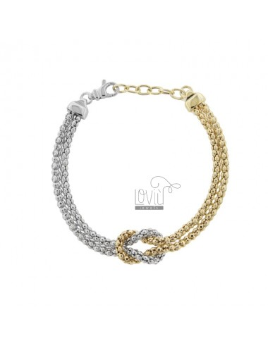 KOREAN BRACELET WITH KNOT IN SILVER RHODIUM AND GOLDEN TIT 925 ‰ CM FROM 17 EXTENDABLE TO 19