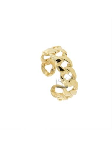GROUMETTE RING 6 MM SILVER GOLDEN TIT 925 ADJUSTABLE SIZE